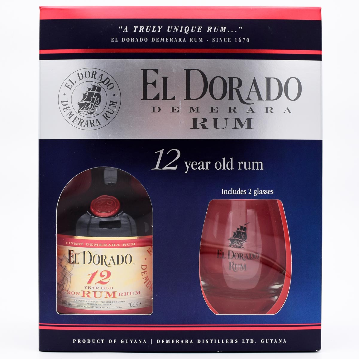 Ром, Demerara Distillers El Dorado 12 Years Old, 40%, 0.7 л., в п/у со стаканами